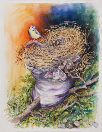 """<div class='artwork-listing'><span class='artwork-listing-artist'><a href=""""/users/pamelacasper"""" class=""""active"""">PamelaCasper</a></span>, <span class='artwork-listing-title'><a href=""""/portfolio/10917/birds-nest-tornado"""">Birds Nest Tornado</a></span>, <span class='artwork-listing-year'>2011</span>, <span class='artwork-listing-materials'>Water color on paper</span>, <span class='artwork-listing-dimensions'>58"""" x 46""""</span></div>"""