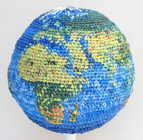 "<div class='artwork-listing'><span class='artwork-listing-artist'><a href=""/users/julie-kornblum"">Julie Kornblum</a></span>, <span class='artwork-listing-title'><a href=""/portfolio/11909/dont-cover-globe-plastic"">Don't Cover the Globe in Plastic</a></span>, <span class='artwork-listing-year'>2010</span>, <span class='artwork-listing-materials'>Plaster globe, used plastic shopping bags</span>, <span class='artwork-listing-dimensions'>14"" H, 9.5"" w, 9.5"" D</span></div>"