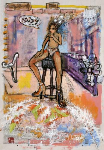 "<div class='artwork-listing'><span class='artwork-listing-artist'><a href=""/users/borai-kahne-ateliers"" class=""active"">Borai - Kahne Ateliers</a></span>, <span class='artwork-listing-title'><a href=""/portfolio/12024/model"">Model</a></span>, <span class='artwork-listing-year'>2012</span>, <span class='artwork-listing-materials'> Acrylic on newspaper</span>, <span class='artwork-listing-dimensions'>22.36"" x 15.67""</span></div>"