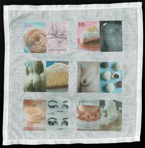 "<div class='artwork-listing'><span class='artwork-listing-artist'><a href=""/users/karen-mainenti"">Karen Mainenti</a></span>, <span class='artwork-listing-title'><a href=""/portfolio/12726/abcs-detail-f"">ABCs (Detail A-F)</a></span>, <span class='artwork-listing-year'>2011</span>, <span class='artwork-listing-materials'>Handkerchief with iron-on transfers</span>, <span class='artwork-listing-dimensions'>16"" W x 16"" H</span></div>"