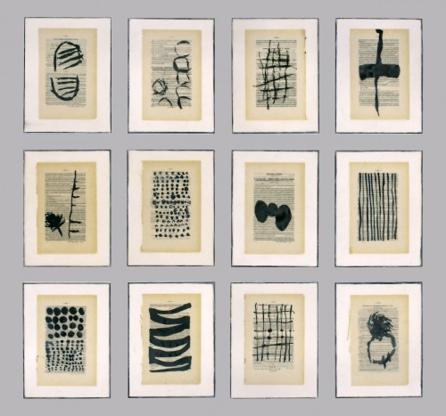 "<div class='artwork-listing'><span class='artwork-listing-artist'><a href=""/users/gwendolyn-plunkett"" class=""active"">Gwendolyn Plunkett</a></span>, <span class='artwork-listing-title'><a href=""/portfolio/14539/booked-1"">Booked 1</a></span>, <span class='artwork-listing-materials'>Ink, old book pages, encaustic medium, oil bar on panel</span>, <span class='artwork-listing-dimensions'>50"" x 40"" grid, 12"" x 9"" ea pt</span></div>"