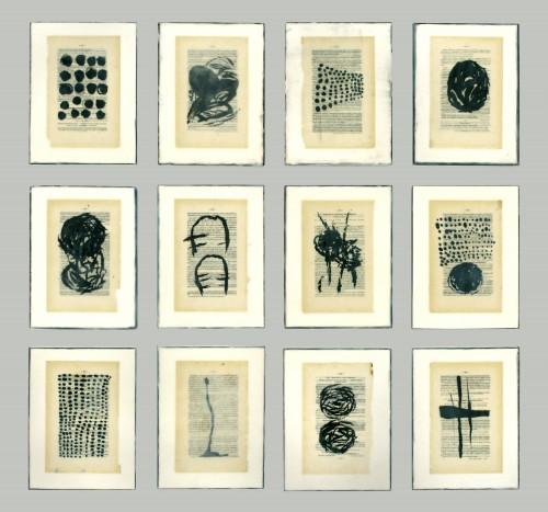 "<div class='artwork-listing'><span class='artwork-listing-artist'><a href=""/users/gwendolyn-plunkett"" class=""active"">Gwendolyn Plunkett</a></span>, <span class='artwork-listing-title'><a href=""/portfolio/14539/booked-2"">Booked 2</a></span>, <span class='artwork-listing-year'>2011</span>, <span class='artwork-listing-materials'>Ink, old book pages, encaustic medium, oil bar on panel</span>, <span class='artwork-listing-dimensions'>50"" x 40"" grid, 12"" x 9"" ea pt</span></div>"
