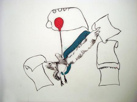 "<div class='artwork-listing'><span class='artwork-listing-artist'><a href=""/users/christine-s-kim"" class=""active"">Christine S. Kim</a></span>, <span class='artwork-listing-title'><a href=""/portfolio/1803/prevention-egg-eating"">Prevention of Egg Eating</a></span>, <span class='artwork-listing-materials'>Acrylic and Ink on both sides of Mylar</span>, <span class='artwork-listing-dimensions'>22.5 x 33.5""</span></div>"