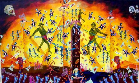 "<div class='artwork-listing'><span class='artwork-listing-artist'><a href=""/users/raymond-pilarczyk"" class=""active"">Raymond Pilarczyk</a></span>, <span class='artwork-listing-title'><a href=""/portfolio/3514/illuminati"">The Illuminati</a></span>, <span class='artwork-listing-year'>2007</span>, <span class='artwork-listing-materials'>acrylic on canvas</span>, <span class='artwork-listing-dimensions'>6' by 10' ft.</span></div>"