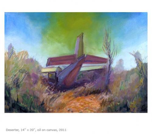 """<div class='artwork-listing'><span class='artwork-listing-artist'><a href=""""/users/anna-souvorov"""" class=""""active"""">Anna Souvorov</a></span>, <span class='artwork-listing-title'><a href=""""/portfolio/382/deserter"""">Deserter</a></span>, <span class='artwork-listing-year'>2011</span>, <span class='artwork-listing-materials'>Oil on canvas</span>, <span class='artwork-listing-dimensions'>14'' x 20''</span></div>"""