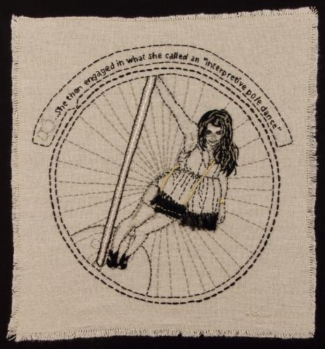 "<div class='artwork-listing'><span class='artwork-listing-artist'><a href=""/users/kathy-e-halper"" class=""active"">Kathy E Halper</a></span>, <span class='artwork-listing-title'><a href=""/portfolio/3936/interpretive-pole-dance"">Interpretive Pole Dance</a></span>, <span class='artwork-listing-year'>2011</span>, <span class='artwork-listing-materials'>Embroidery thread on linen</span>, <span class='artwork-listing-dimensions'>17.5"" x 17.5""</span></div>"