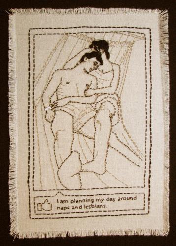 "<div class='artwork-listing'><span class='artwork-listing-artist'><a href=""/users/kathy-e-halper"" class=""active"">Kathy E Halper</a></span>, <span class='artwork-listing-title'><a href=""/portfolio/3936/naps-lesbians"">Naps & Lesbians</a></span>, <span class='artwork-listing-year'>2011</span>, <span class='artwork-listing-materials'>Embroidery thread on linen</span>, <span class='artwork-listing-dimensions'>14"" x 18""</span></div>"