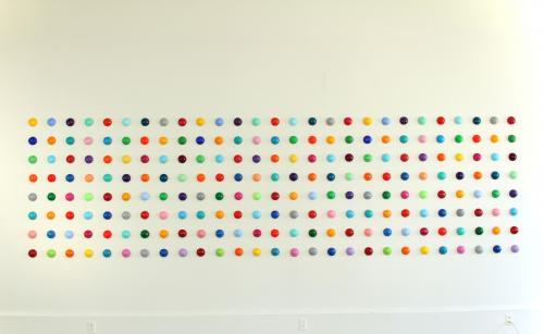 "<div class='artwork-listing'><span class='artwork-listing-artist'><a href=""/users/mia-yoon"" class=""active"">Mia Yoon</a></span>, <span class='artwork-listing-title'><a href=""/portfolio/4968/candiesque-installation"">""Candiesque"" Installation</a></span>, <span class='artwork-listing-year'>2012</span>, <span class='artwork-listing-materials'>Mixed Media</span>, <span class='artwork-listing-dimensions'>5' x 18' (each ball is 3"" roun</span></div>"