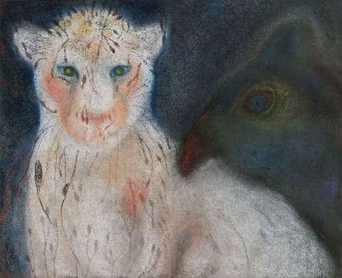 "<div class='artwork-listing'><span class='artwork-listing-artist'><a href=""/users/jan-harrison"" class=""active"">Jan Harrison</a></span>, <span class='artwork-listing-title'><a href=""/portfolio/5104/night-cat-foliage-fur-diptych"">Night Cat with Foliage Fur  (diptych)</a></span>, <span class='artwork-listing-year'>2013</span>, <span class='artwork-listing-materials'>Pastel, charcoal, and ink on rag paper</span>, <span class='artwork-listing-dimensions'>20 x 24.75 inches</span></div>"