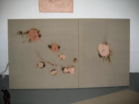 "<div class='artwork-listing'><span class='artwork-listing-artist'><a href=""/user/0""></a></span>, <span class='artwork-listing-title'><a href=""/portfolio/5467/untitled-urban-decay-paintball-painting"">Untitled (urban decay paintball painting)</a></span>, <span class='artwork-listing-year'>2007</span>, <span class='artwork-listing-materials'>urban decay foundation, ash, linen</span>, <span class='artwork-listing-dimensions'>42"" x 74.5"" or 42""x42"" + 42"" x</span></div>"