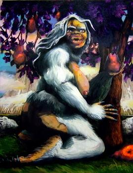 "<div class='artwork-listing'><span class='artwork-listing-artist'><a href=""/user/0""></a></span>, <span class='artwork-listing-title'><a href=""/portfolio/5772/kala-eat-fruit"">Kala Eat Fruit</a></span>, <span class='artwork-listing-year'>2004</span>, <span class='artwork-listing-materials'>Oil, acrylic, ink, on canvas</span>, <span class='artwork-listing-dimensions'>68"" x 52""</span></div>"