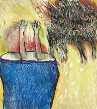 "<div class='artwork-listing'><span class='artwork-listing-artist'><a href=""/users/alaine-becker"" class=""active"">Alaine Becker</a></span>, <span class='artwork-listing-title'><a href=""/portfolio/6479/blue-vessel"">Blue Vessel</a></span>, <span class='artwork-listing-year'>2009</span>, <span class='artwork-listing-materials'>pastel oil pastel on paper</span>, <span class='artwork-listing-dimensions'>45x40</span></div>"